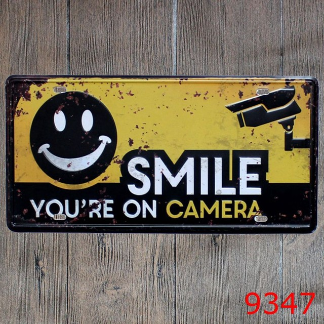 License plate \' SMILE YOU\'RE ON CAMERA \' Metal Tin Sign Room Vintage ...