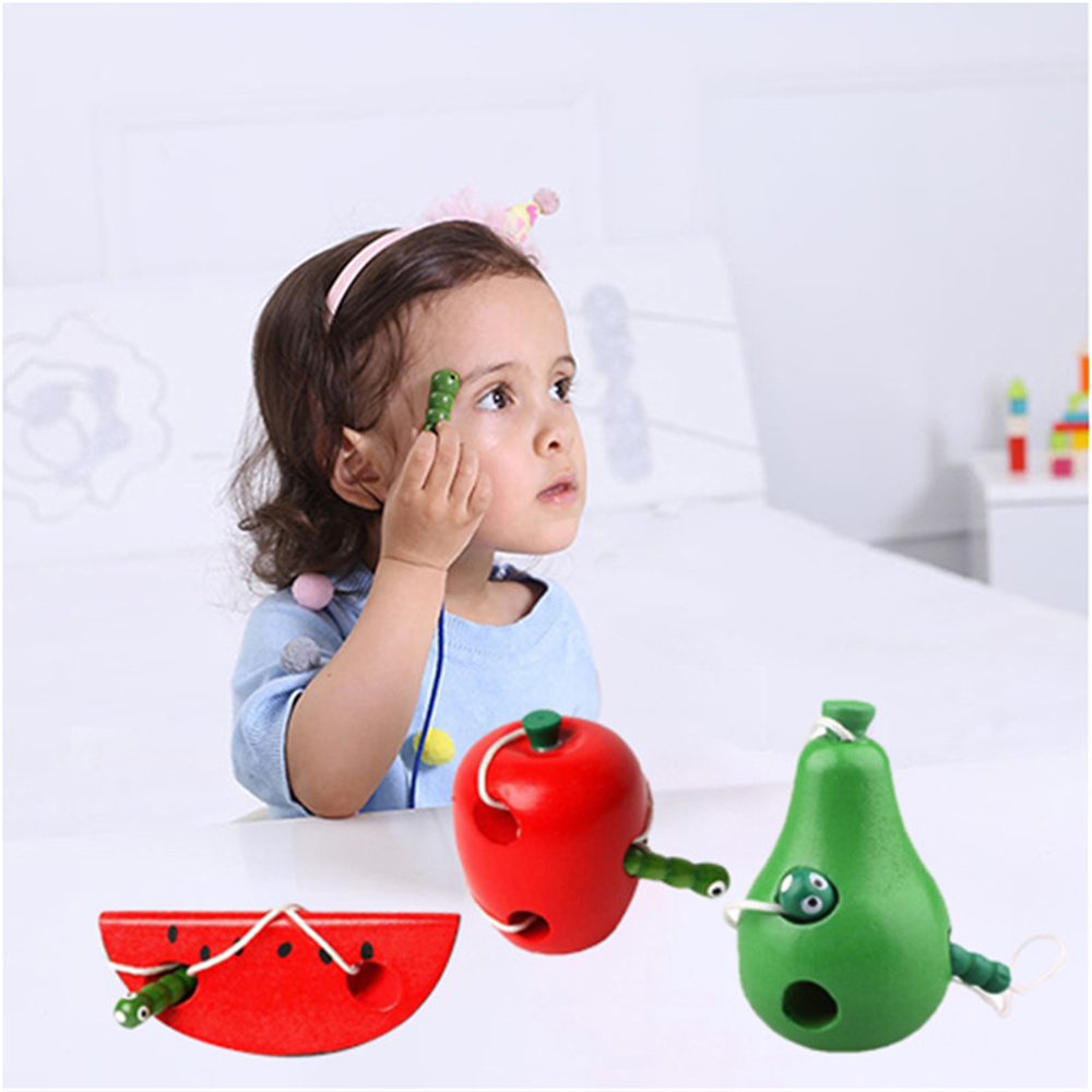 Kid Early Educational Lacing Threading Fruits Caterpillar Eats Fruit Wooden Toys
