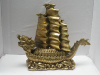 Free shipping Metal Crafts Chinese Home Decoration brass statue, Money fortune dragon boat statue/Sculpture