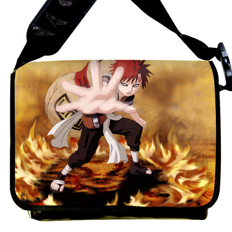 Naruto Sasuke Gaara Printing Cosplay School Bag Canvas Students Shoulder Messenger Bags naruto cosplay costume boots sasuke shoes
