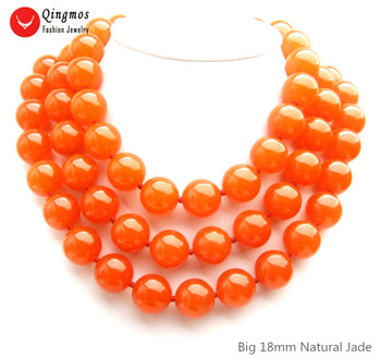 """Qingmos Natural Jades Necklace for Women with 3 Strands 18mm Round China Red Jades Necklace Jewelry Chokers 18-23"""" nec6504"""