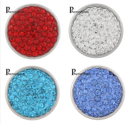 10pcs/lot Hot Sale 18mm Snap Button Charm rhinestone Snaps Jewelry With Copper Bottom Fit DIY Bracelets For Women Jewelry KB2701