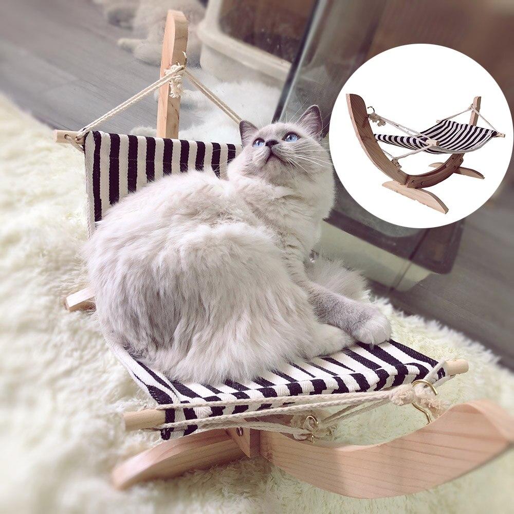 Été confortable balançoire chat lit assemblé en bois chat maison Pet suspendu hamac chaise longue lit pour petits chiens hiver en peluche tapis pour chats