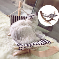 Summer Cozy Swing Cat Bed Assembled Wooden Cat House Pet Hanging Hammock Lounger Bed For Small Dogs Winter Plush Mat For Cats