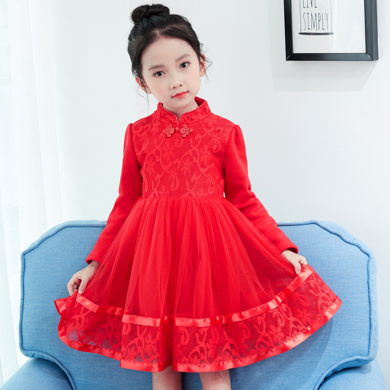 Holiday Dresses For Girls 3-12Years Chinese Tang Lace Princess Voile Tutu Dress Long Sleeve New Year Costumes Children Clothes