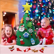 OurWarm 3D DIY Christmas Tree with Ornaments Toy Decoration Children  2019 New Year Gifts Xmas Felt