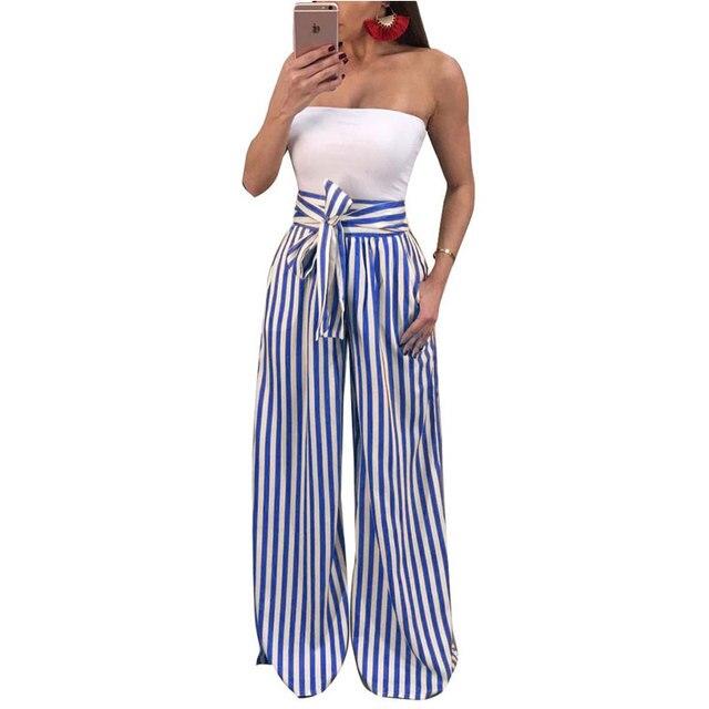 2bb8f8eeea07 2018 Summer Wide Leg Pants Women Palazzo Pants High Waist Plaid Striped  Loose Pants Women Elegant Trousers Office Ladies Trouser