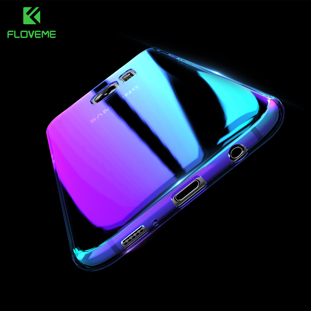 FLOVEME Cool Blue Ray Plastic Case For Samsung Galaxy S7 s8 s8 Plus S7 s6 Edge Gradient Color Plated Cover Back Protective Shell
