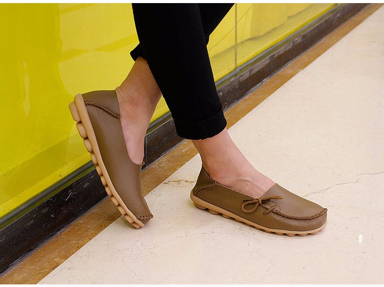 2016 New Real Leather Woman Flats Moccasins Mother Loafers Lacing Female Driving Casual Shoes In 16 Colors Size 34-44 ST179 (26)
