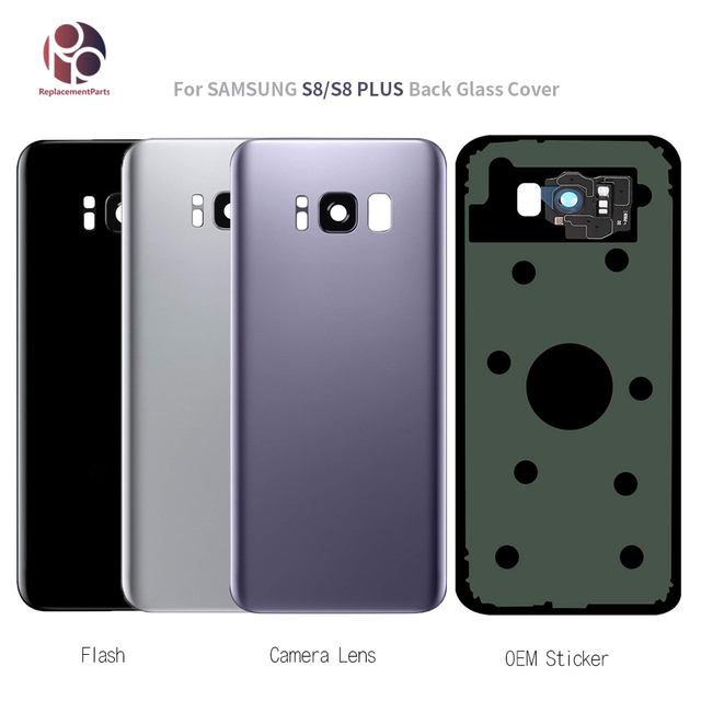 Novo Vidro Traseiro Da Tampa Da Bateria Caso Para Samsung Galaxy S8 G950 S8 + G955 S8 Plus Voltar Vidro Tampa da caixa + etiqueta + Lente Da Câmera OEM