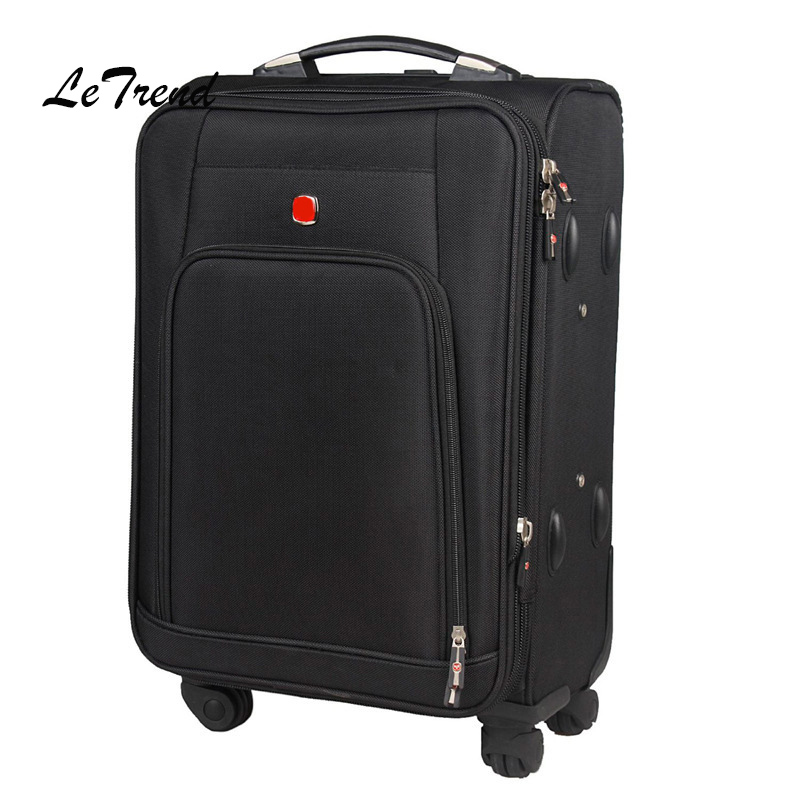 LeTrend oxford rolling luggage spinner 20 inch Carry On Travel Bag Men Trolley Case Business suitcase Wheels password box