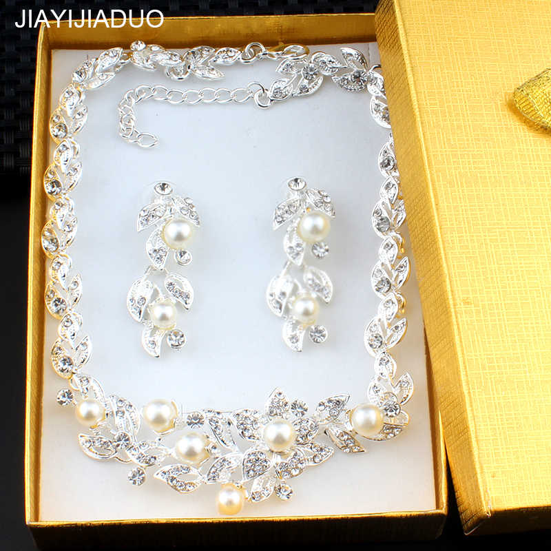 jiayijiaduo Silver color imitation pearl jewelry set for women bridal jewelry necklace earrings gift exquisite box dropshipping