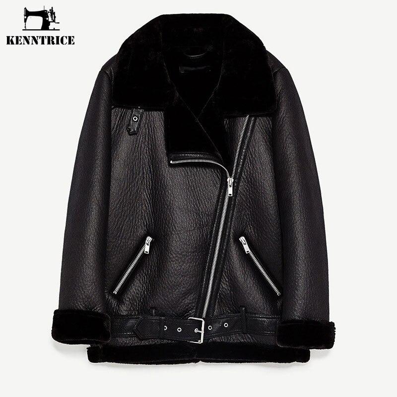 KENNTRICE Vintage Faux Women Leather Jacket Winter Thick Leather Black Coat Women Faux Sheepskin Ladies Jacket