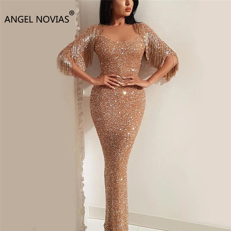 ANGEL NOVIAS Long Champagne Abendkleider   Evening     Dress   2018 with Beads Tassel Sheath Glitter Arabic Avondjurk