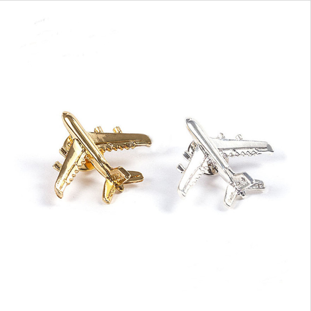 Men's Suits Plane Silver Metal Button Brooch Aircraft Personalized Badge Collar Pin