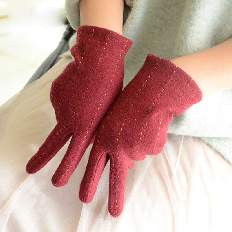 Fashion Elegant Female Wool Knit Embroidery Touch Screen Gloves Winter Women Warm Cashmere Full Finger Leather Bow Gloves C25