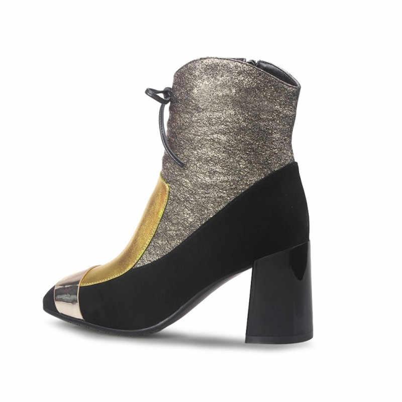 Prova Perfetto yeni lüks altın sıcak yarım çizmeler Zapatos Mujer Tacon ayakkabı bağcıkları büyü renk gerçek deri yüksek topuklu bayan botları
