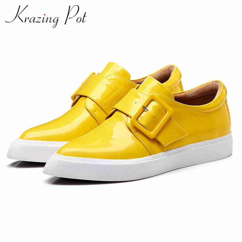 Krazing Pot genuine leather superstar square metal buckle oriental pointed toe slip on sneakers women vulcanized
