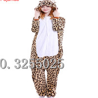 MengShuFen 2017 Halloween Autumn And Winter Pajama Sets Cartoon Sleepwear Women Pajama Flannel Animal Leopard Pajamas