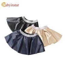 New Baby Girl Skirt Autumn Winter Pu Leather Tutu Skirt Children Clothes Kids Girls Fashion Skirt