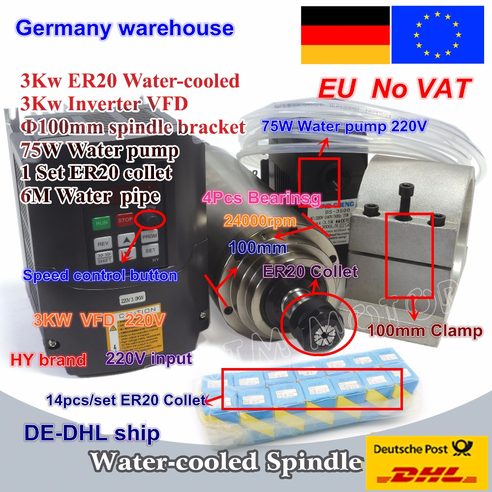 3KW Raffreddato ad Acqua Motore Mandrino ER20 & 3kw Inverter VFD 220 V e 100 millimetri morsetto e 75 W pompa acqua e tubi con 1 set ER20 collet CNC Kit
