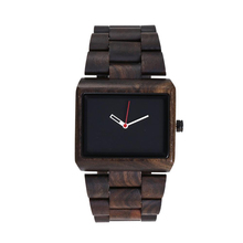 Mens Classic Watch Ebony Wood Watches Environmental protection Square Dial Simple Quartz Wristwatches Free Shipping Sale