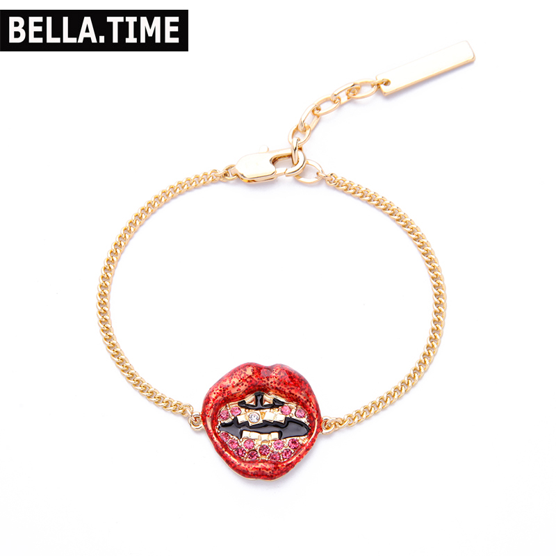 Bella Time Alloy Charm Bracelets for Women Fashion Simple Crystal Drill Red Lips Charm Bracelet for Girls Top Bracelet Jewelry