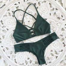 Women Bandage Thong Brazilian Bikinis Swimwear Female Sexy Green Bandeau Push up Swimsuit Bikini Set Beachwear Biquini