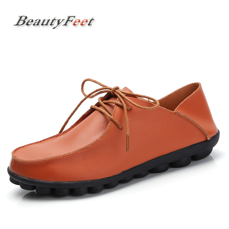BeautyFeet New Genuine Leather Women Shoes Woman Girls Lace-Up Fashion Casual Shoes Female Comfortable Breathable Women Flats beautyfeet women shoes female genuine leather lace up casual shoes woman flats white shoes candy color breathable ladies shoes