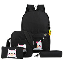 4pcs/set School Bag Girls Women Canvas Travel Backpack Satchel Shoulder Rucksack