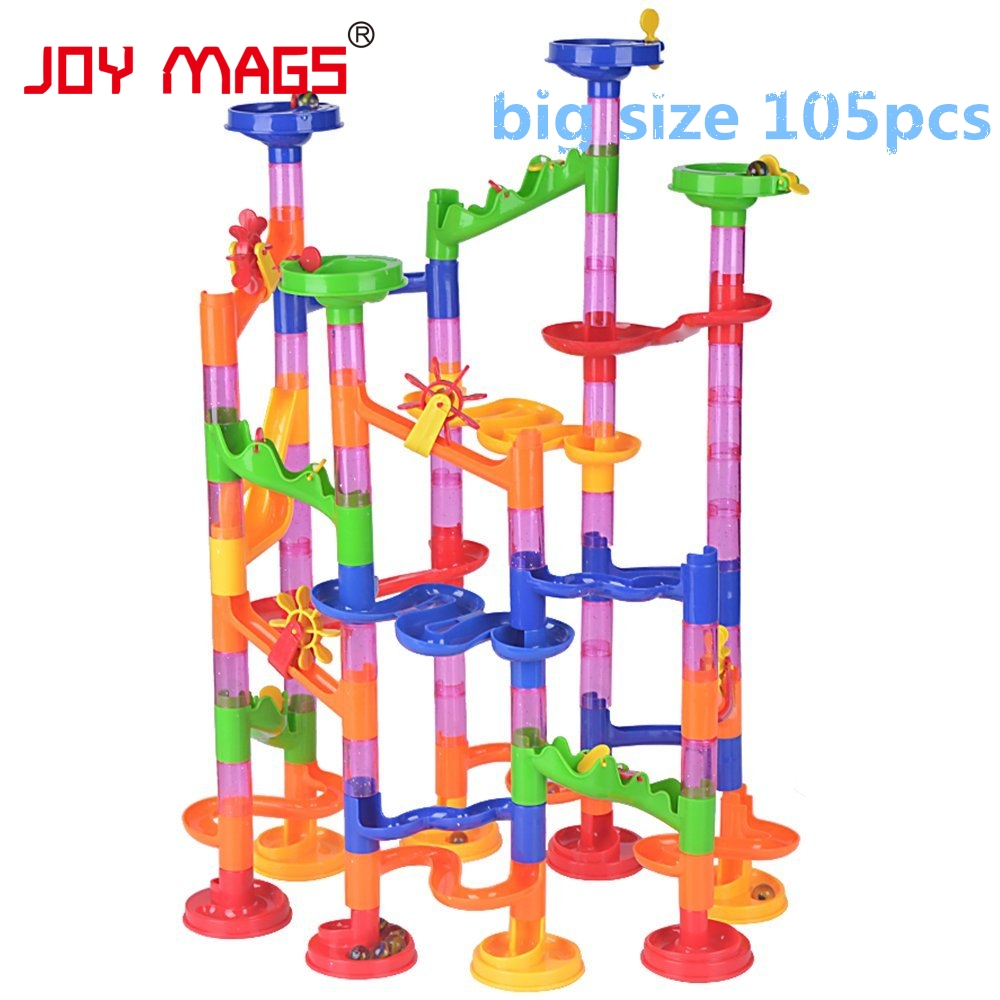 JOY MAGS 105 PCS/Set High Quality DIY Construction Marble Race Run Maze Balls Track Building Blocks Educational Toy Game