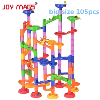 JOY MAGS 105 PCS/Set High Quality DIY Construction Marble Race Run Maze Balls Track Building Blocks Educational Toy Game candice guo plastic toy children block track ball building blocks 74pcs diy maze marble run construction system race deluxe gift
