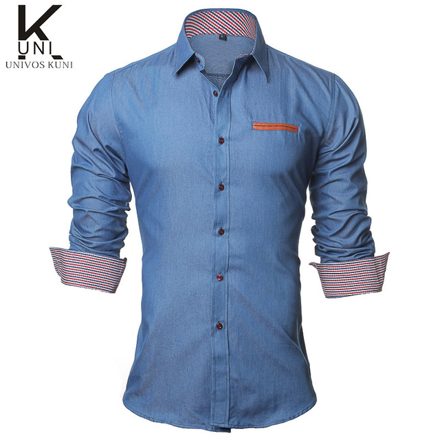 4506b159ab 2016 Men Shirt Social Casual Jeans Shirts Long Sleeve Denim Fashion Brand  Slim Fit Male Shirts chemise homme manche courte F2000