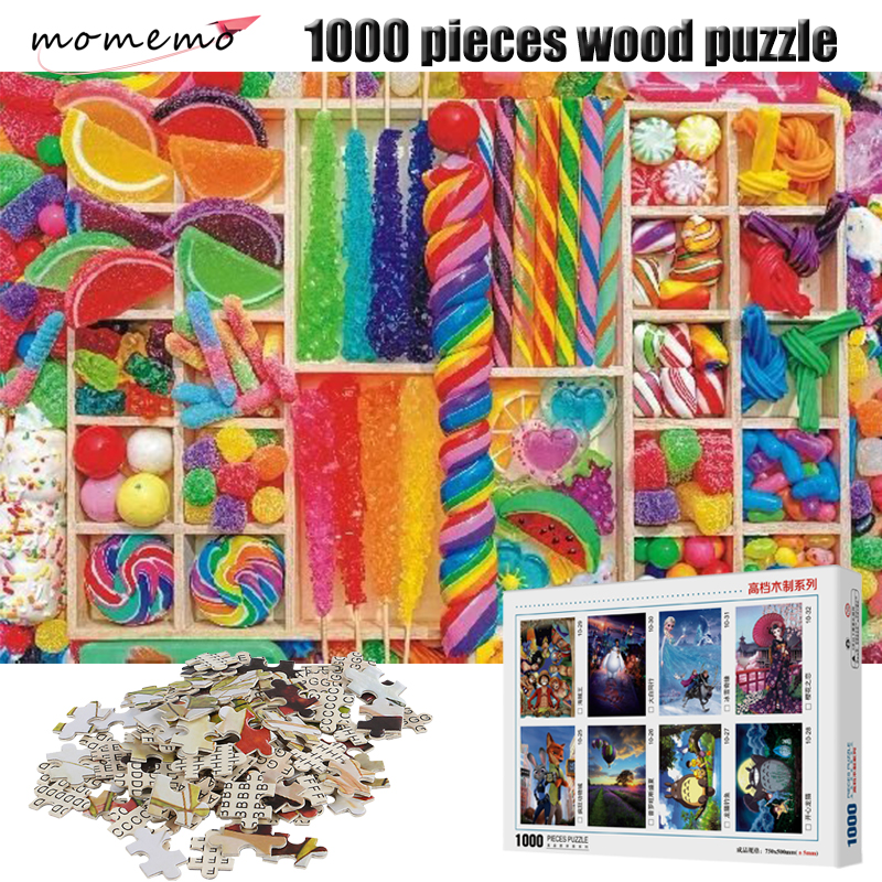 MOMEMO Sweet Candy Puzzles for Adults 1000 Pieces Wooden Puzzle Kids Educational Toys Games Jigsaw