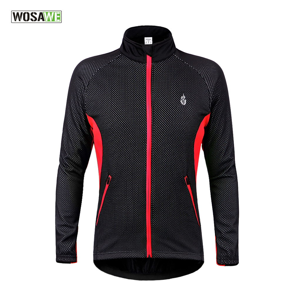 WOSAWE Winter Thermal Fleece Cycling Jacket Windproof Cycling Clothing Bicycle Reflective Jacket Bike Long Sleeve Jersey Coat veobike winter windproof thermal fleece reflective bike bicycle jersey warm cycling wind coat jackets pants set for men women