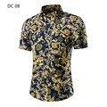 Nuevos Sumer llegada hombres camiseta de manga corta para Casual impresión delgado diseño apto de las camisas para hombre alta calidad 3xl 4xl 5xl
