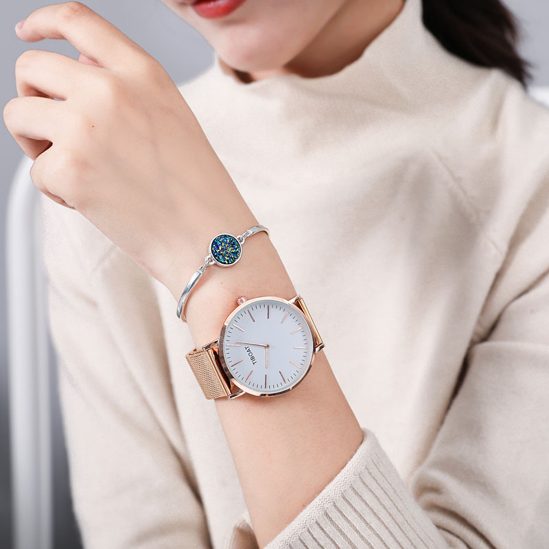 Top quality Women Stainless Steel Watches Rose Gold Quartz Waterproof Watch Women Silver Black Mesh Ladies Watch reloj mujer in Women 39 s Watches from Watches