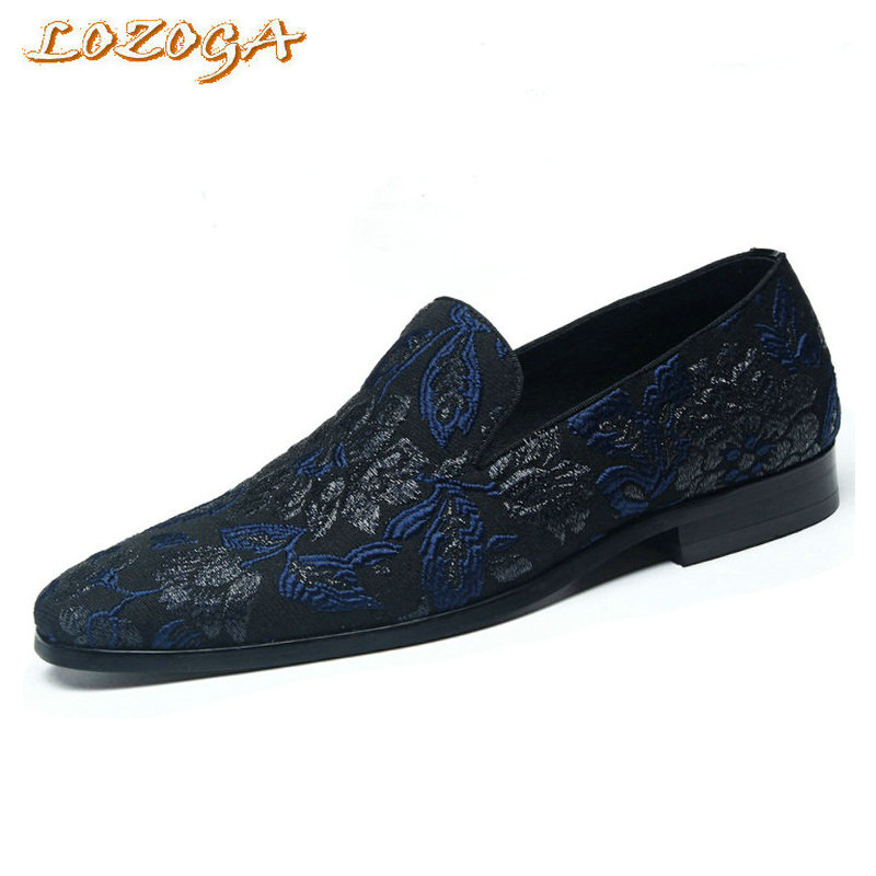 2017 Newest Men Shoes Handmade Embroidery Top Quality Casual Shoes Loafers Slip-On Summer Luxury Design Import Shoes Black/Blue 100 super cute little embroidery chinese embroidery handmade art design book