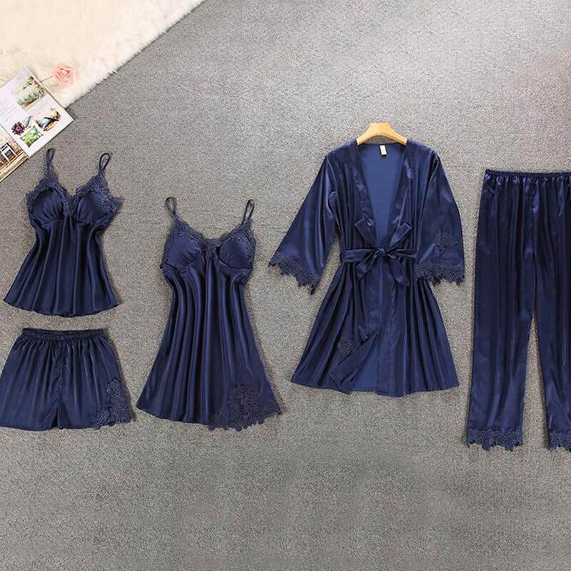 5 Pieces   pajamas   for women Silk Homewear Home Clothing Lounge   pajamas     set   with Chest Pads Satin sleepwear home suit silk   pajamas