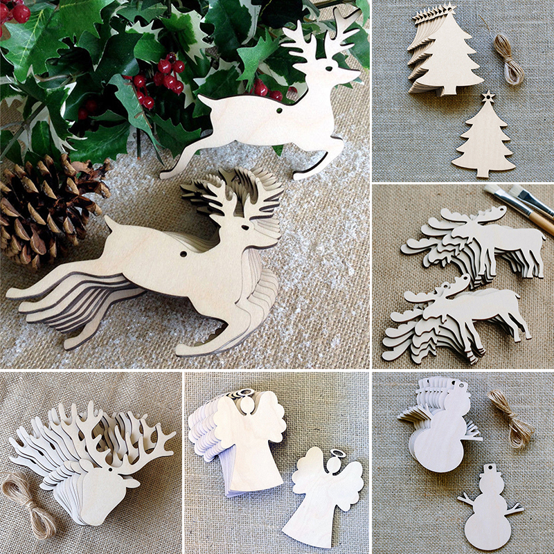 10Pcs Christmas Tree Wood Snowman Deer Hanging Ornament Wooden Craft  Ornaments For DIy Xmas Party Decoration