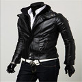 MEBOSYA Men's Leather Jacket Size M-2XL Black And Brown Men's Casual Short Paragraph Collar Men's Casual Clothing Coat