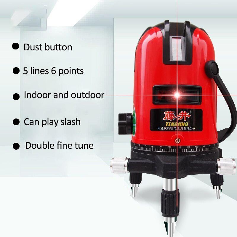 5 lignes 3D Laser niveau mètre 180 degrés Laser ligne rouge précis réglable trépied AC et DC double usage compteur Laser niveau