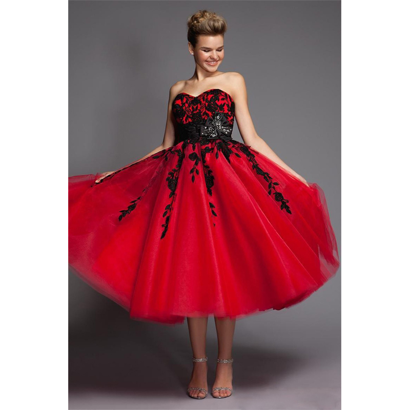 Red And Black Wedding Dresses: Black And Red Wedding Dresses Short Tulle Lace Mid Calf