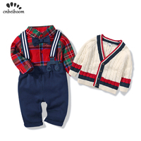 Boys clothing sets baby handsome dress set 1 2 Y red plaid tie bow rompers bib pants sweater coats 3 piece suit 2019 new spring