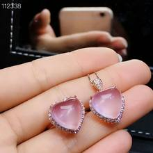 MeiBaPJ Natural Pink Rose Quartz Gemstone Fine Love Heart Jewelry Set 925 Pure Silver Necklace and Ring Suit for Women(China)