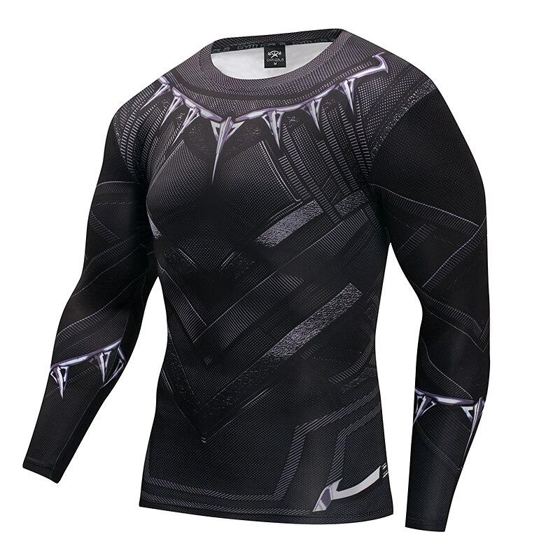 Captain America 3 Superhero Black Panther T Shirt3D Printed T-shirts Fitness Men Cross fit Compression Shirt Tops