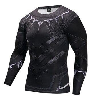 Mens T shirt Black Panther T เสื้อ Captain America 3 Superhero 3D พิมพ์ T เสื้อฟิตเนสผู้ชาย Cross Compression เสื้อ Tops