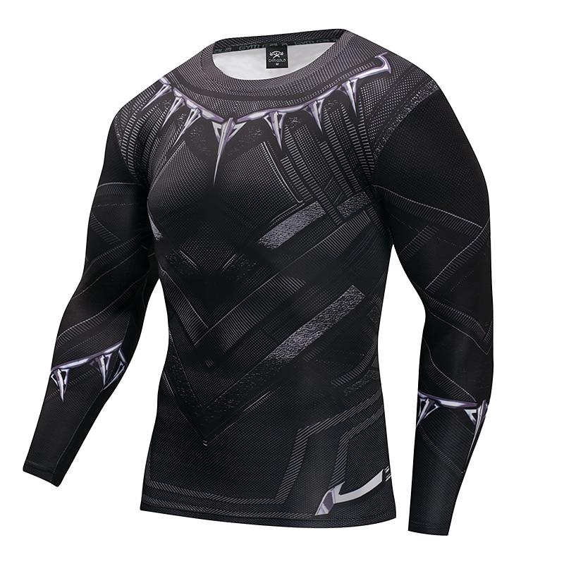 Mens T shirt Black Panther T shirts Captain America 3 Superhero 3D Printed T shirts Fitness Men Cross fit Compression Shirt Tops