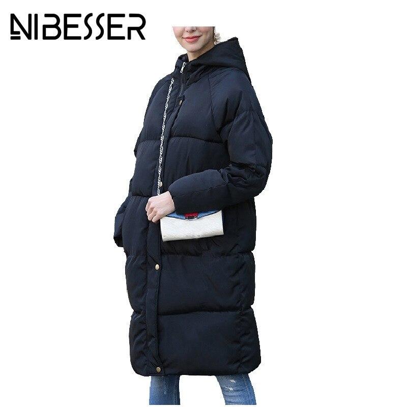 NIBESSER Winter Parka Jackets For Women Snow Wear Long Coats Warm Hooded Overcoats Windbreaker Plus Velvet Thick Jacket Coat z30