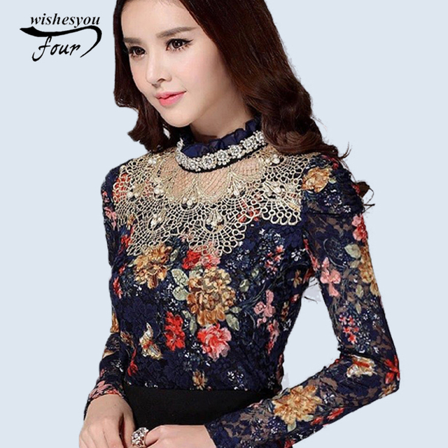 NEW 2018 Women Floral Lace fashion casual girl blouse Diamond beaded lace shirt Female Tops women clothes 3115 25